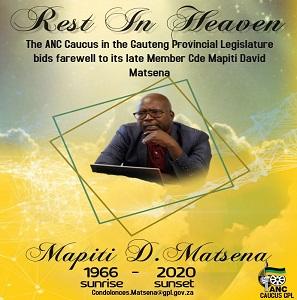ANC Caucus bids farewell to Cde Mapiti Matsena