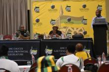 ANC Gauteng Head of Elections Cde Lebogang Maile presents the elections report at the ANC Caucus Lekgotla