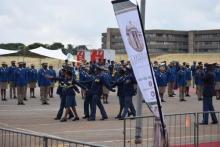 SAPS Brass Band drilling at the 2020 GP SOPA