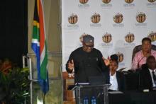 Premier David Makhura takes to the podium to deliver the 2020 SOPA
