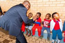 Gauteng Province Premier David Makhura with the children of Saulsville Community in Atteridgeville